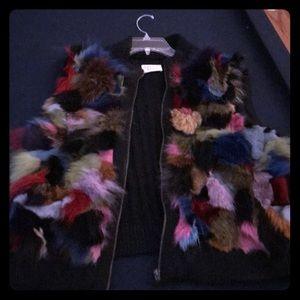 Jackets & Blazers - Gorgeous multi colored rabbit fur vest